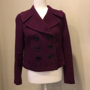 I.N.C. Cropped Knit Double Breasted Coat Purple XS